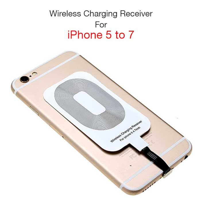free shipping d21ea 1146c Qi Wireless Charging Receiver for iPhone 5/5C/5S/6/6S/6S+/7 & Samsung