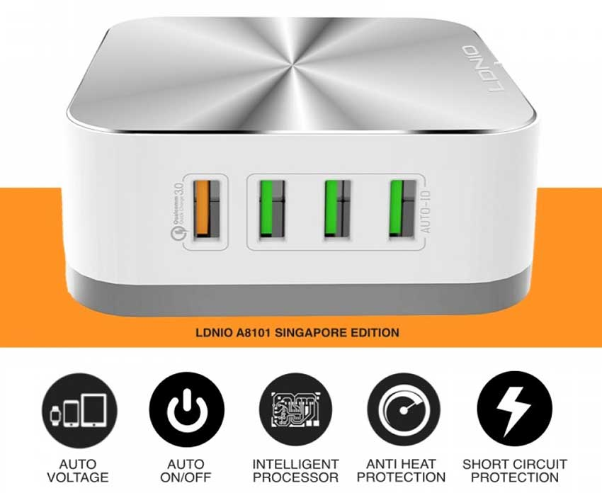 LDNIO 8 USB Port Desktop Charger Qualcomm Fast Charge 3.0 5