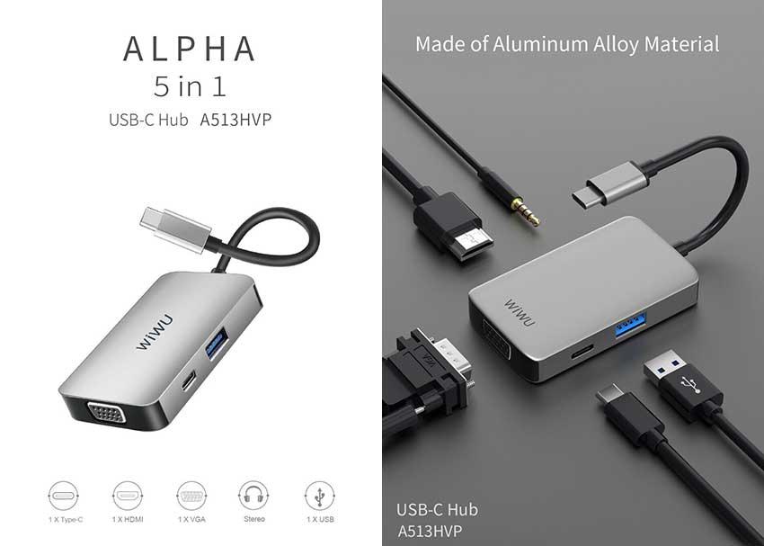 WiWU Alpha A513HVP 5 in 1 USB Type C HUB Gray 2